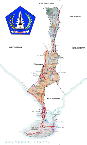 Peta wilayah Kabupaten Badung