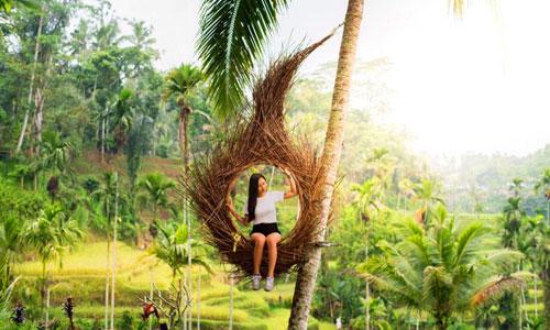 Wisata selfie di Tunggir terrace padi Tegalalang