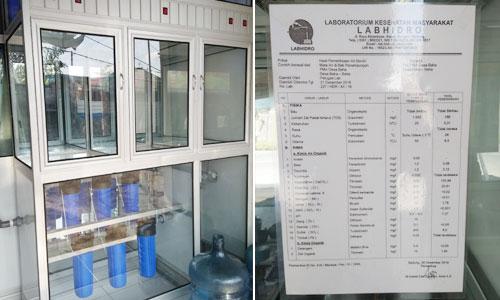Depot air minum isi ulang dan hasil uji lab